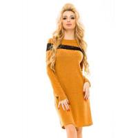 Модное платье женское ангора с кружевом