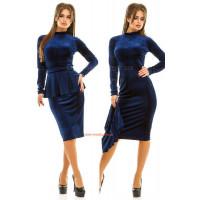 Бархатное женское платье с баской