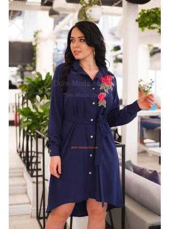 Короткое женское платье рубашка с поясом