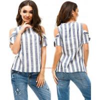 Женская рубашка полосатая большого размера