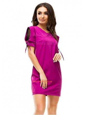 Короткое однотонное мини платье с рукавчиком