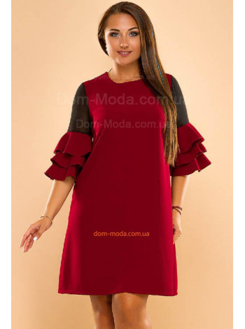 Модное женское платье с воланами на рукавах