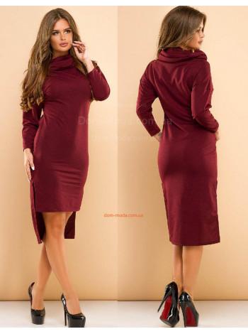 Кроткое теплое платье с воротником хомутом