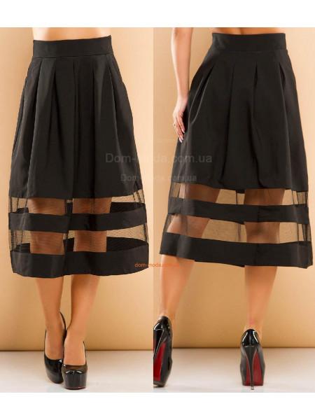 Женская пышная юбка миди в складку
