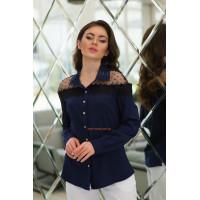 Женская блузка большого размера с кружевом