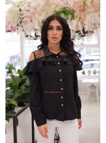 Модна жіноча блузка з відкритими плечима для повних