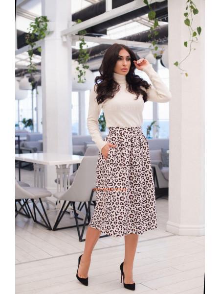 Модная женская юбка миди с принтом