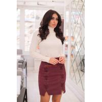 Женская короткая стильная юбка с разрезами