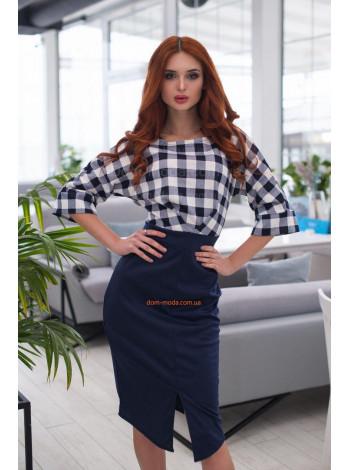 Женское офисное деловое платье в клетку
