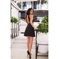 Коротке жіноче чорне плаття з відкритою спиною