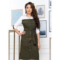 Женское вельветовое платье рубашка на кнопках
