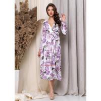 Женское платье миди на запах в цветочек