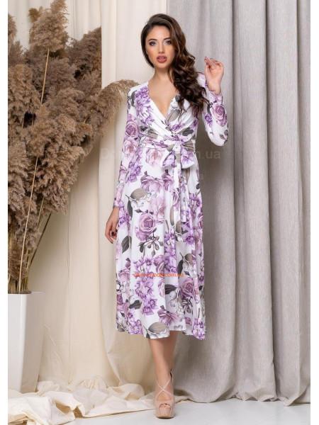 Жіноче плаття міді на запах в квіточку