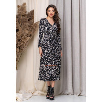 Женское миди платье на запах с цветочным принтом