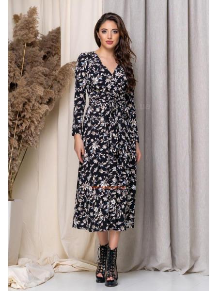 Жіноча міді сукня на запах з квітковим принтом
