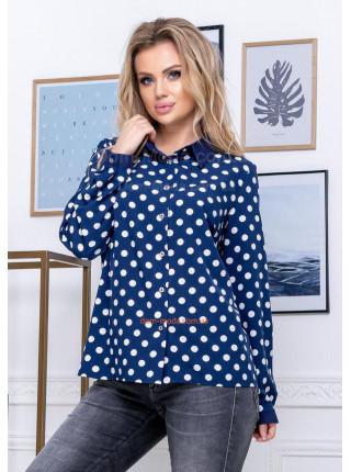 Блузка в горошек на пуговицах для полных