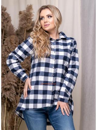 Женская асимметричная рубашка в клетку для полных