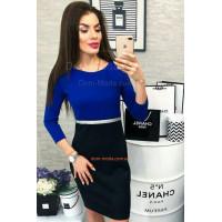 Короткое двухцветное платье с длинным рукавом