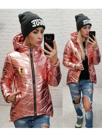 """Женская стеганная куртка с капюшоном """"Металлик"""""""