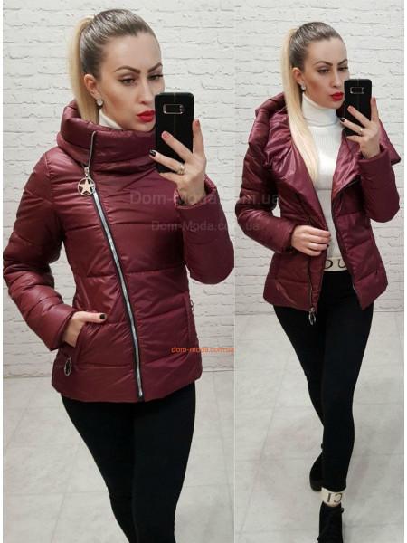 Стильна коротка куртка жіноча з високим коміром