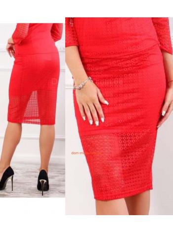 Женская модная гипюровая юбка за колено