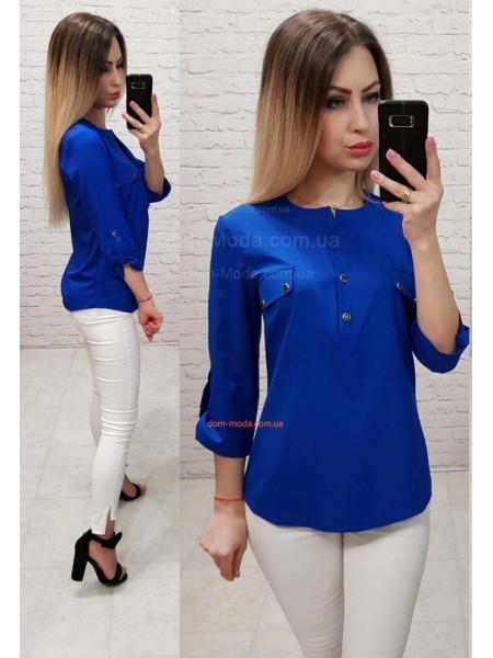 Женская блузка без воротника с рукавом