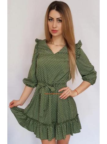 Короткое платье в горошек с рюшами