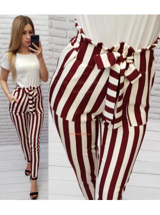 Женские штаны в полоску с высокой талией