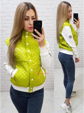 Женская модная куртка бомбер с белыми рукавами
