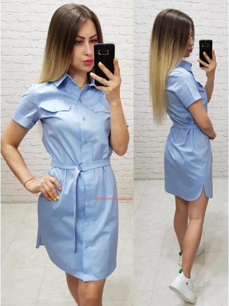 Летнее платье рубашка с поясом