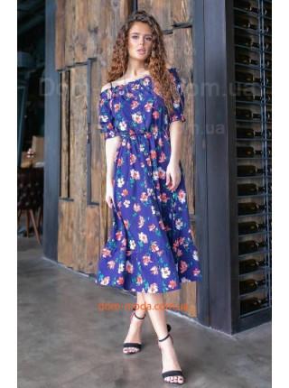 Легкое платье миди в цветочек