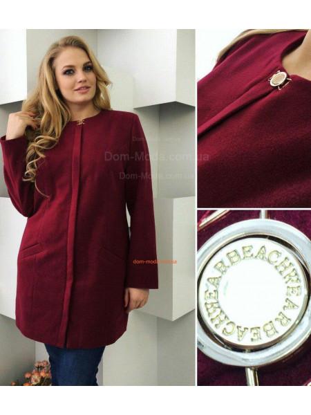 Модное кашемировое пальто прямого кроя норма и батал