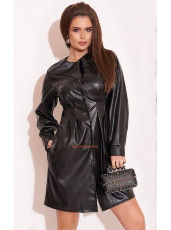 Короткое черное стильное кожаное платье с рукавом