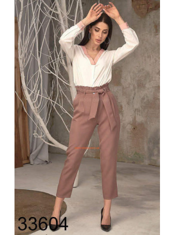Укороченные брюки женские с высокой талией