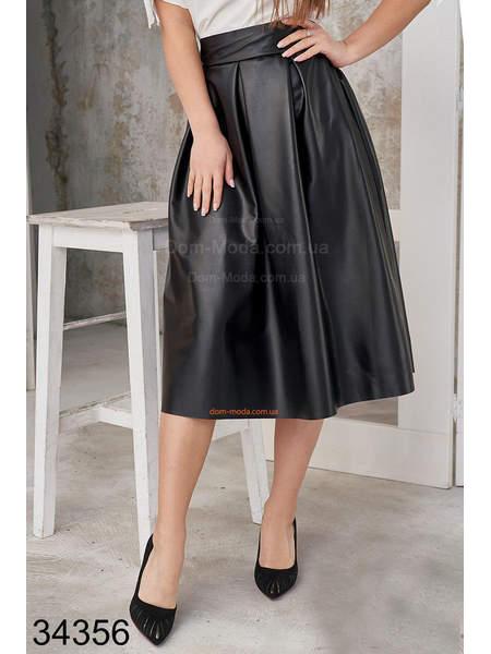 Пышная кожаная юбка миди