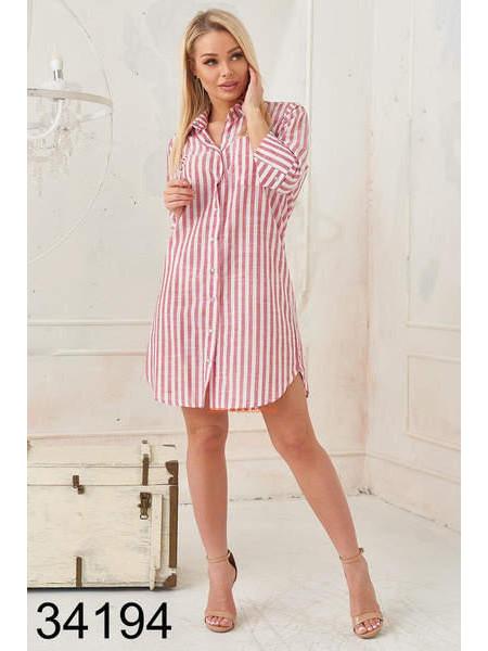 Женское платье рубашка в полоску на кнопках