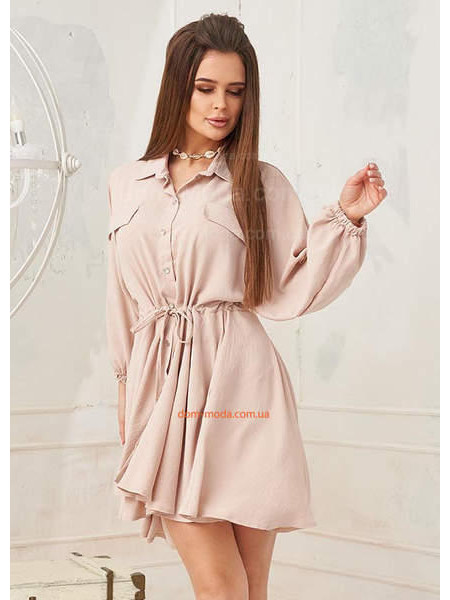 Короткое платье рубашка с объемным рукавом