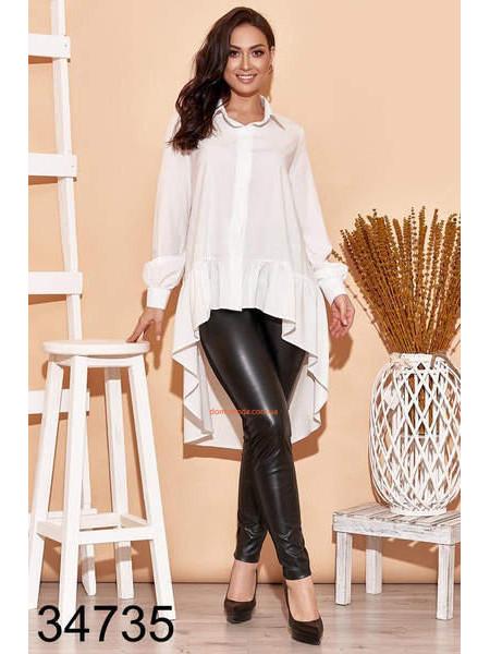 Женская блузка с удлиненной спинкой для полных