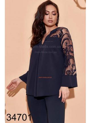 Жіноча блузка з прозорими рукавами великого розміру