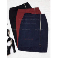 Трикотажная юбка карандаш с молнией спереди