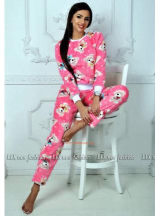 Махровая женская пижама с брюками