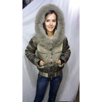 Короткая зимняя куртка с мехом песец норма и батал