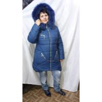 Зимова стьобана куртка з хутром песця великого розміру 50-60