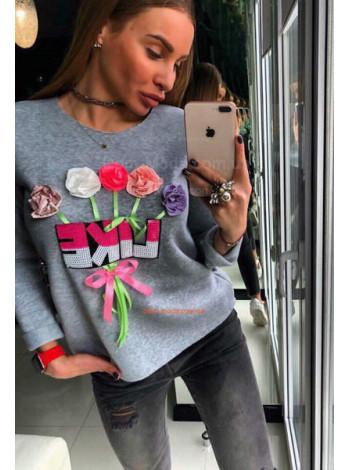 Женская кофта свитшот Цветы