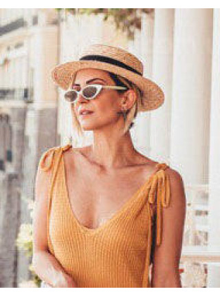 Соломенная шляпа канотье для женщин