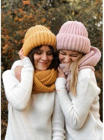 Комплект шапка и хомут женский