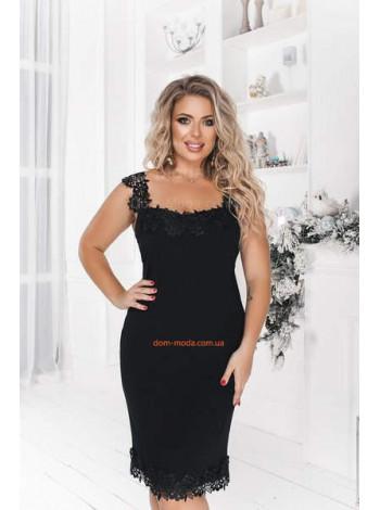 Красивое вечернее платье без рукав с кружевом большого размера