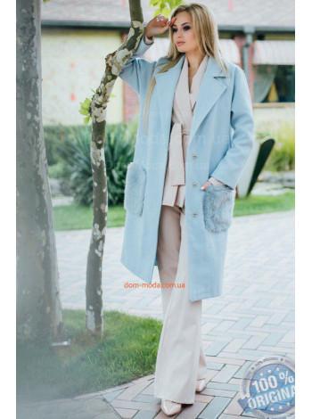 Утепленное пальто с мехом на карманах норма и батал