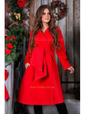 Кашемировое пальто с широким поясом