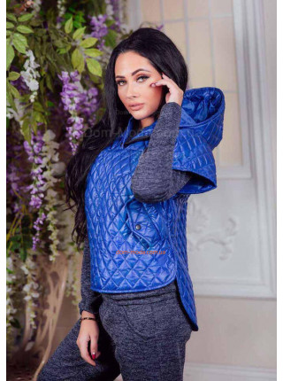 Женская стеганая куртка кофта с капюшоном